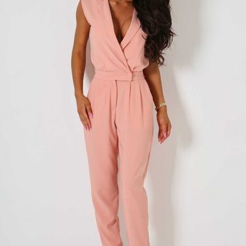 Bettina Peach Sleeveless Jumpsuit | Pink Boutique