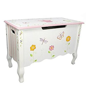 Fantasy Fields - Princess & Frog Thematic Kids Wooden Toy Chest with Safety Hinges | Imagination Inspiring Hand Crafted & Hand Painted Details Non-Toxic, Lead Free Water-based Paint
