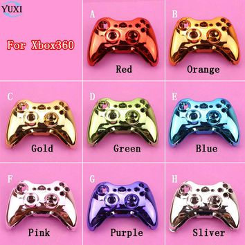 YuXi Chrome Wireless Game Controller Hard Case Gamepad Housing Shell Cover with Full set of accessories For Xbox360 XBox 360