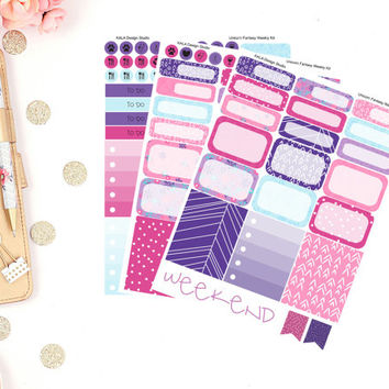 Erin Condren Unicorn Fantasy Weekly Kit Planner Stickers! Perfect For Erin Condren Life Planner,Happy Planner, Filofax,Personal, Calendar!