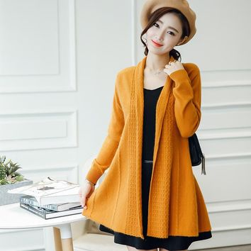 2017 Fashion Cashmere Sweater Women Cardigan Sweater Female Open Stitch Knitted Coat Slim Sweater Plus Size 100