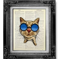 Cat Print, DICTIONARY ART Print on Book Page Art, BOOK Page Print, Dictionary Paper, Old Book Art, Nerdy Nerd Cat Wall Decor Painting Poster