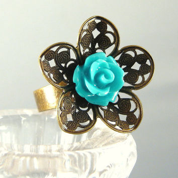 Teal Blue Rose Flower Ring Adjustable Antique Bronze Filigree Statement Fashion Jewelry