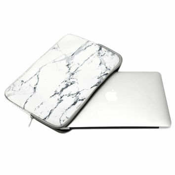 "White Marble Pattern Zipper Sleeve Bag for All Laptop 13"" 13-inch Macbook Pro / Air / Macbook Unibody / Ultrabook / Chromebook"