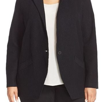 Plus Size Women's Eileen Fisher Notch Collar Boiled Wool Jacket,