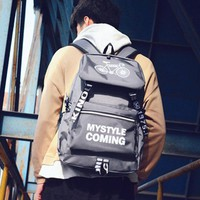 Leisure Pure Color Spider Bicycle Travel Student Bag Canvas Backpack