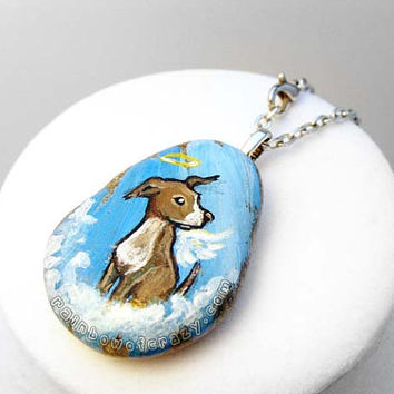 Pit Bull Necklace, Pitbull Jewelry, Angel Dog Pendant, Pet Loss Art, Pet Memorial Accessory, In Memory, Painted Rock