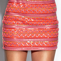 Global Girl Sequined Mini-Skirt