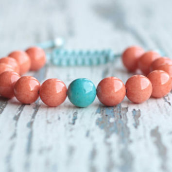 shamballa bracelet Cord beaded Bracelet womens gift for wife orange turquoise bracelet colorful jewelry jade woven bracelet gift idea girl
