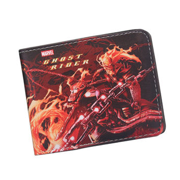 Steampunk Cartoon Skull Knight Wallet Bifold Ghost Rider Wallet Slim Leather Purse Bag Credit Card Holder Movies Wallet For Fans