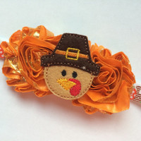 Thanksgiving Headband for Girls - Felt Turkey Pilgrim Headband - Fall Headband for Toddler - First Thanksgiving Head Band Photo Prop