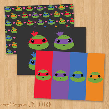 Kawaii Teenage Mutant Ninja Turtles Cute Stationery Set -  3 Notecards