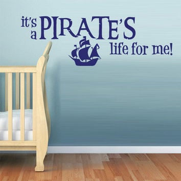 rvz799 Wall Vinyl Sticker Bedroom Kids Ship Pirates Boy Boat Life Words Quotes