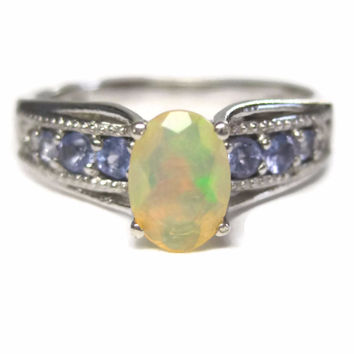 Vintage Jelly Opal and Tanzanite Ring Sterling Size 8