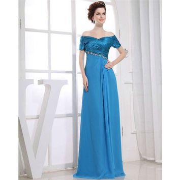 Short Sleeves Evening Dresses Flutter Sleeve Long Women Gown Chiffon Special Occasion Dresses Prom Gown