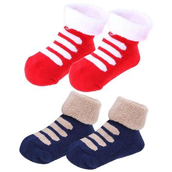 1 Pair Baby Socks Thick Cotton Winter Socks Newborn Toddler Kids Boys Girls Cartoon Socks