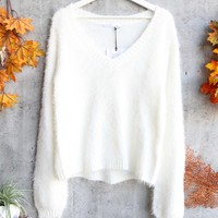 somedays lovin - heartbreaker fuzzy eyelash jumper sweater - ivory