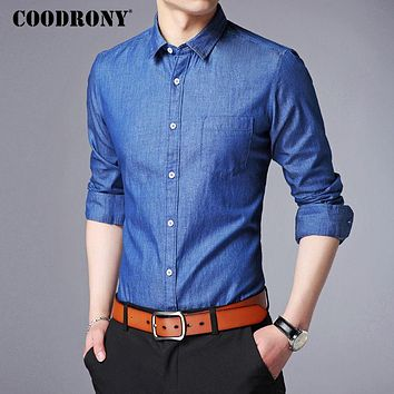 Shirt Men Winter New Long Sleeve Casual Shirts Men Clothing Soft Pure Cotton Cowboy Shirt