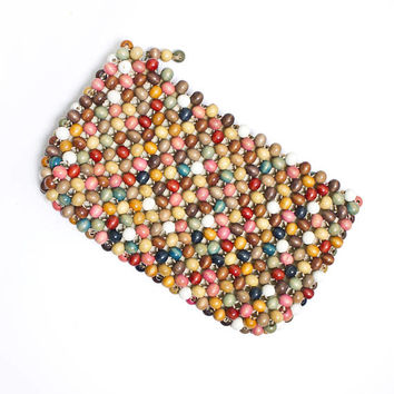Vintage 1960s Clutch - Wooden Bead Painted Purse 60s