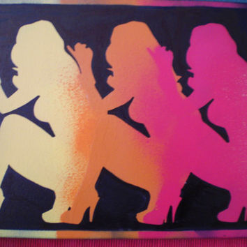 Stripper,dancer silhouette painting,stencil art,spray paints,canvas,woman,girls,red,yellow,orange,urban,pop art,abstract,night club,wall art