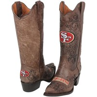 San Francisco 49ers Womens Embroidered Cowboy Boots - Brown