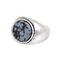 River Island MensSilver tone large stone ring