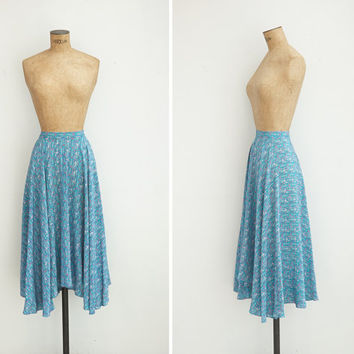 1970s Skirt - Vintage 70s Blue Floral Asymmetric Skirt - Barrio Alto Skirt