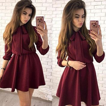 Women Casual A-Line Mini Dress 2018 Spring Three Quarter Solid 0 Neck Bow Sexy Party Dress Women Vintage Club Dresses