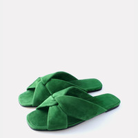 Turban slide- green suede