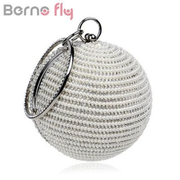 Berno fly Fashion Women Pearl Beaded Diamond Tellurion Evening Bag Bridal Wedding Round Ball Wrist Bag Clutch Purse Handbag