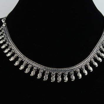 Warrior Necklace White Metal Ethnic Silver Metal Tribal NecklaceTibetan Boho Gypsy Necklace Turkish Paisley Dylanlex inspired Dixi Inspired