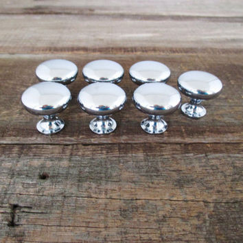Vintage Knobs 7 Stainless Steel Knobs Stainless Steel Drawer Knobs Silver Colored Cabinet Drawer Knobs Vintage Dresser Drawer Hardware