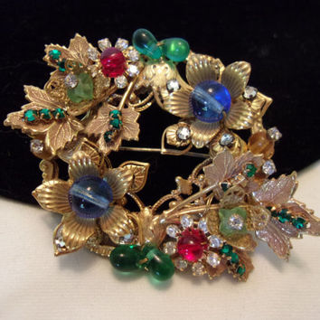 Miriam Haskell Jewelry Brooch Vintage Flower Glass Rhinestone Bead Gold Plate Pin