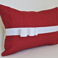 Decorative Christmas Lumbar Pillow-- Red Fabric with White Ribbon Trim