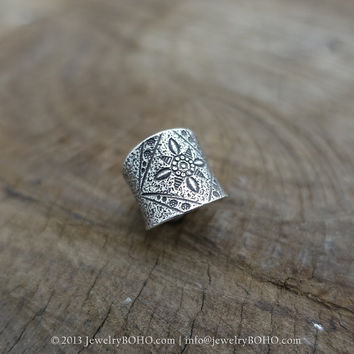 BOHO 925 Silver Ring-Gypsy Hippie Ring,Bohemian style,Statement Ring R132 JewelryBOHO,Handmade sterling silver BOHO Tribal printed ring