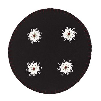 Christmas Snowflake Tablemat Felt Embroidered 13 Set of 6
