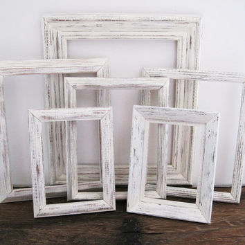White Picture Frame Set Of 6 Shabby Chic Wall Decor