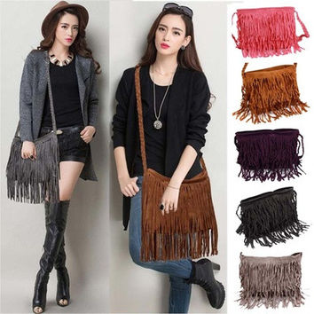Celebrity Tassel Suede Fringe Leather Shoulder Messenger Handbag HOBO Bag [10198322503]