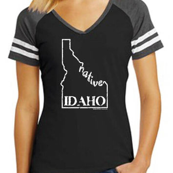 Idaho Native - Ladies Vneck ringer, Idaho T-shirt, native Idaho, made in Idaho, Idaho tee, Idaho made, Idaho design, screen printed