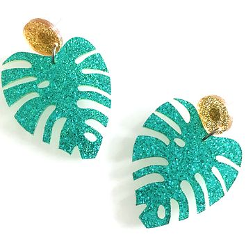 Coconut Leaf Dangle Earrings in Green