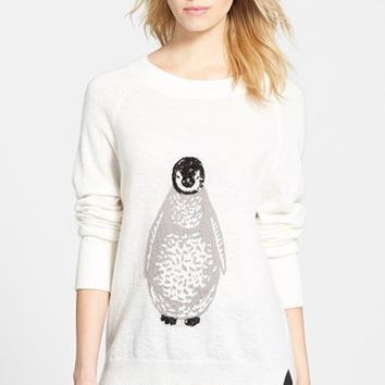 Women's French Connection Penguin Knit Sequin Merino Wool Sweater ,