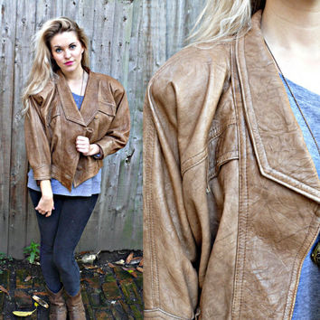FAUX LEATHER JACKET//batwing jacket80s fahsion by princesstoadie