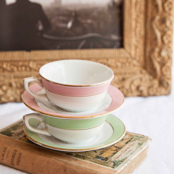Vintage French Coffee Or Tea Cups With Saucers Set Of 2