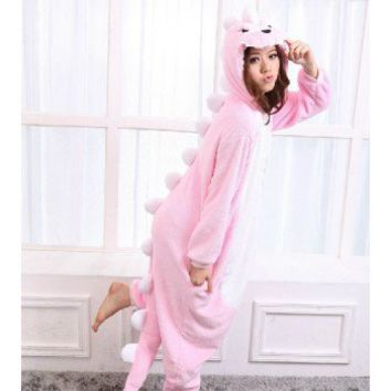 Pink Dinosaur Animal Onesuit Kigurumi Costume Adult Pajamas