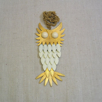 1960s Articulated Huge Owl Necklace, White and Gold, Big White Eyes