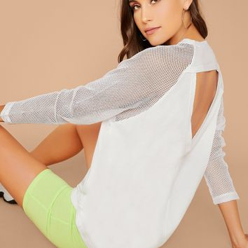 Raglan Fishnet Sleeve Back Cut Out T-Shirt