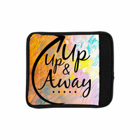 "Ebi Emporium ""Up Up & Away"" Orange Typography Luggage Handle Wrap"