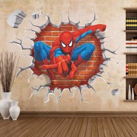 2016 3d Spiderman wall stickers for kids rooms decals home decor personalized Kids Nursery Wall sticker decoration for Boy room