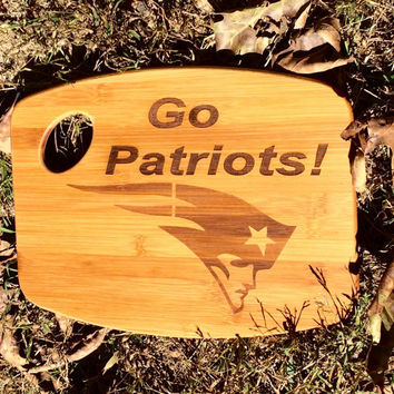 GO PATRIOTS! Laser Engraved, Cutting Board.