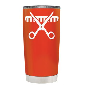 HairStylist Scissor and Comb Silhouette on Vermilion 20 oz Tumbler Cup